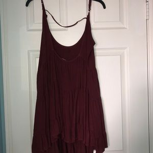 Brandy Melville Dresses - Brandy Melville tiered dress maroon one size